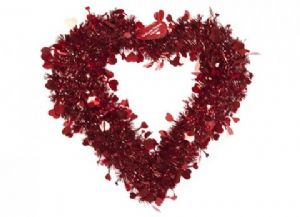 RED TINSEL HEART  173039